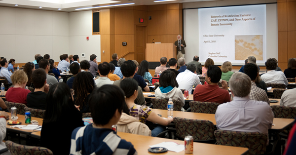 Dr. Goff during his distinguished research seminar presentation to Center for Retrovirus Research and OSU faculty, students, and staff
